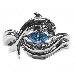 """Dolphin Engagement Ring, """"Independence Day"""" style setting 1/3ct  Marquise.Blue Diamond"""