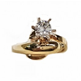 Single Dolphin Engagement Ring with Diamond Eyes & 1/3ct. Round Diamond
