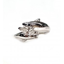 2 Full Dolphin Diamond Engagement Ring 45pt Marquise Center