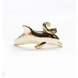 Large Single Dolphin Ring in 14kt Gold