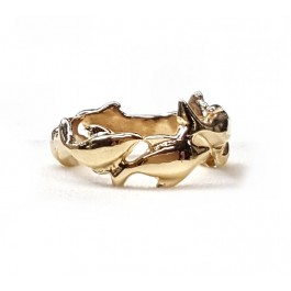 """Dolphins """"Swimming"""" around finger wedding band in 14kt. gold"""