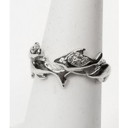 """Dolphins """"Swimming"""" around finger diamond wedding band in 14kt. gold"""