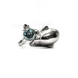 Dolphin Engagement Ring with Large Head & Tail ,50pt Blue Diamond