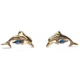 Dolphin Earrings w/ Blue Marquise Diamond in 14kt. Gold