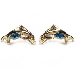 Dolphin Earrings w/ Blue Marquise Diamonds, in 14kt. Gold