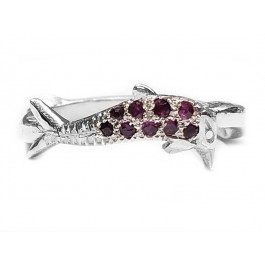 Dolphin Band Custom Made, Set with Rubies. Sterling