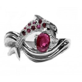 """Dolphin Ring, """"Independence Day"""" style, in Rubies"""