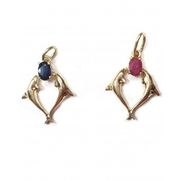 2 Dolphin Pendant w/ Ruby or Sapphire in 14kt Gold