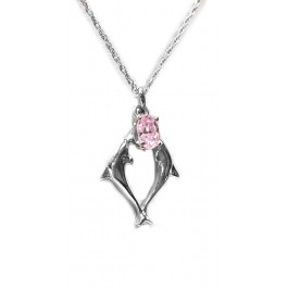 2 Dolphin Pendant with Pink Cubic in Sterling Silver