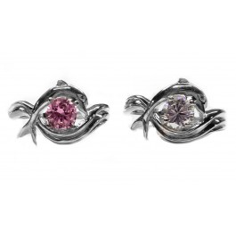 """Dolphin Ring, """"Independence Day"""" style in Sterling, 1ct. Cubic White or Pink"""