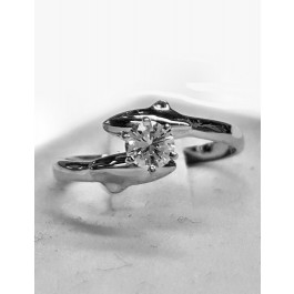 Double Dolphin Engagement Ring w/ 25pt. Round Center Diamond