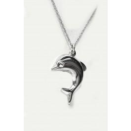 "Dolphin pendant in Sterling Silver, 1"" Profile"