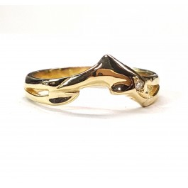 Single Dolphin Wedding Ring with diamond eye,in 14kt. Gold