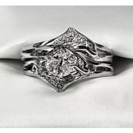 Double diamond dolphin wedding set marquise center set sideways