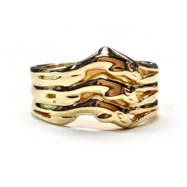 Triple Row Ladies Dolphin Wedding  Band, in 14kt. Gold
