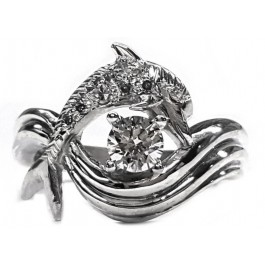 Dolphin Engagement Ring, Pave Set Diamonds 1/3ct. Center