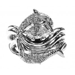 """Dolphin Diamond Wedding Set, """"Independence Day"""" style setting Marquise Center"""