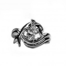"""Dolphin Engagement Ring, """"Independence Day"""" style setting 46pt Pear Shape"""
