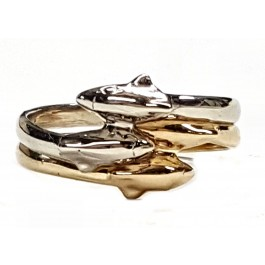 2-Double Dolphin bands in 14kt. Gold