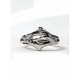 Double Dolphin  Ring with Diamond Eyes in 14kt. Gold