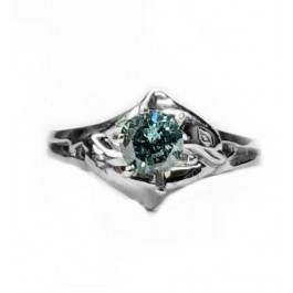 Double Dolphin Engagement Ring 1/4ct Round Blue Diamond