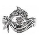 Dolphin Engagement Ring, Pave Set Diamonds 1/3ct. Center