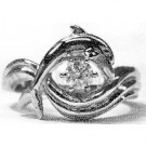 """Dolphin Engagement Ring, """"Independence Day"""" style setting 25pt. Round in 6prongs"""