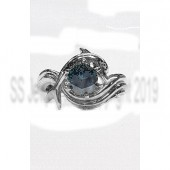 "Dolphin Engagement Ring 1ct. Blue Diamond ""Independence Day"" style setting"