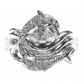 "Dolphin Diamond Wedding Set, ""Independence Day"" style setting Marquise Center"