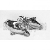 Double Dolphin Diamond Engagement Ring-Marq or Round Center