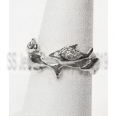 "Dolphins ""Swimming"" around finger diamond wedding band in 14kt. gold"
