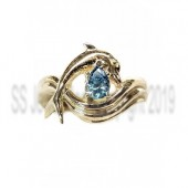 "Independence Day"" Movie Style Dolphin Engagement Ring, 33pt Blue Diamond"