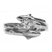Double diamond dolphin wedding set 25pt round diamond