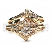 Double diamond dolphin wedding set,1/4ct center diamond
