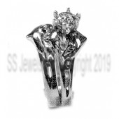 Double double wedding set,1/4ct center diamond