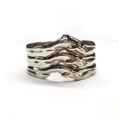 Triple Row Man's  Dolphin Wedding  Band, in 14kt. Gold