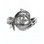 """Dolphin Engagement Ring, """"Independence Day"""" style setting marquise center set sideways"""