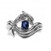 "Dolphin Diamond Ring, ""Independence Day"" style in Sterling, Choose Center Stone"
