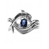 """Dolphin Ring, """"Independence Day"""" style in Sterling, Sapphire Center"""