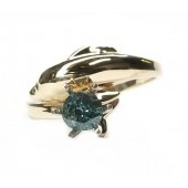 Single Dolphin Engagement Ring with Diamond Eyes, 1/2ct &.Blue Diamond