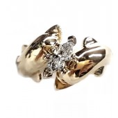 Double Dolphin Engagement Ring w/ 1/2ct. Marquise Center Diamond