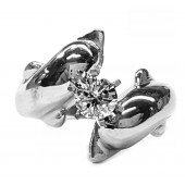 Double Dolphin Engagement Ring 25pt.Center Diamond