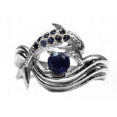 """Dolphin Ring, """"Independence Day"""" style, in Sapphires"""