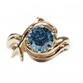 """1.93ct. Dolphin Engagement """"Independence Day"""" Ring. Blue Diamond, in 14kt Gold"""
