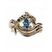 """Dolphin Ring, """"Independence Day"""" style setting with Blue Diamonds"""