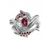 Dolphin Wedding Set w/Pave Rubies on Bands, in Sterling Silver