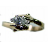 Double Dolphin Engagement Ring w/ 20pt. Marquise  Shape Diamond