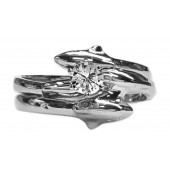 Double diamond dolphin wedding set 25pt round diamond