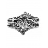 Double diamond dolphin wedding set marquise center set sideways