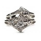Double diamond dolphin wedding set,1/4ct center diamond